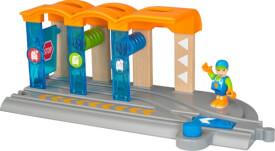 BRIO World 33874 Smart Tech Waschanlage für Züge Waschstraße mit rollenden Walzen & Sound-Effekten Interaktives Spielzeug