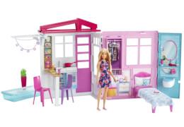 Mattel FXG55 Barbie® Ferienhaus mit Möbeln und Puppe