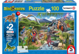 Schmidt Puzzle 56192 Schleich, mit zwei Figuren, Im Reich der Dinosaurier, 100 Teile, ab 6 Jahre
