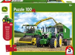 Schmidt Spiele Puzzle John Deere Traktor 6195M und Feldhäcksler 8500i, 100 Teile