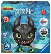 Ravensburger 111459 Puzzleball Dragons 3 Ohnezahn mit Ohren 74 Teile