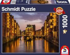Schmidt Spiele Puzzle Speicherstadt am Abend, Hamburg, 1000 Teile