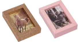 Mini Glitzer-Bilderrahmen I LOVE HORSES, sortiert nicht frei wählbar
