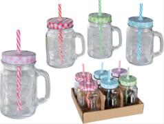 Trinkglas mit Henkel,Deckel & Strohhalm